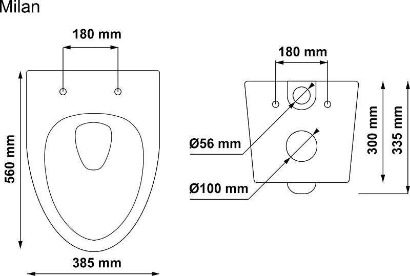 Miska WC wisząca Milan wymiary
